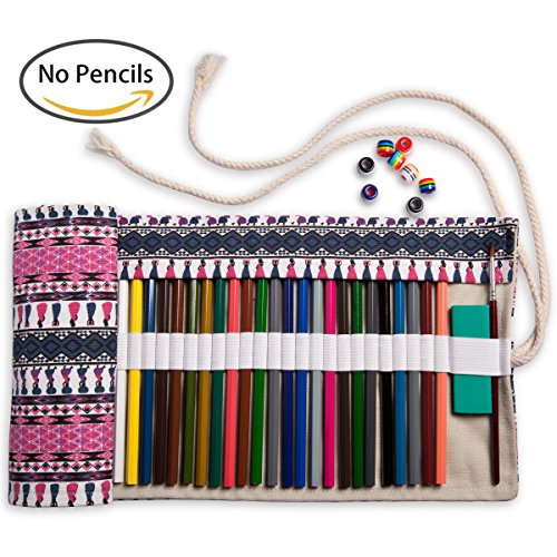 Artify 48 Colored Pencil Roll Up Canvas Wrap Pouch Holder (Personalized Pencil Cases)