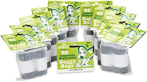 allBIO perro bolsas de caca perro Excrementos Bolsa/bolsas de bolsas de basura de perro/Doggy – 100% biodegradable y Compostable. – 300