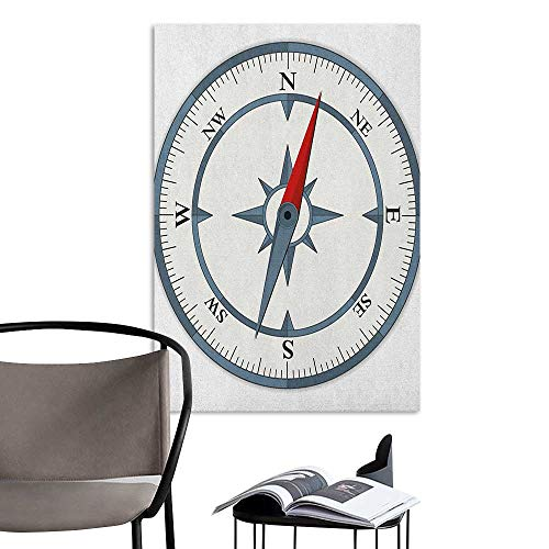 Camerofn Wall Mural Wallpaper Stickers Compass Minimalist Design Compass with Windrose Finding Your Way on The Sea Navigation Slate Blue Red Hall Fashion W24 x H36 ()