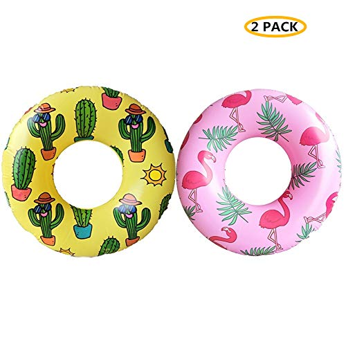 WenYing 2 Packs Swimming Pool Ring, 80CM Inflatable Giant Floats, Children Flamingo Cactus Swim Tube, Summer Beach Toy, 31.5 Inch