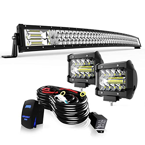 """TURBO SII 52"""" LED Light Bar Curved 5D 300W Flood Spot Combo Beam Led Bar W/ 2Pcs 4in Off Road Driving Fog Lights with Wiring Harness-3 Leads for Jeep Trucks Polaris ATV Boats Lighting"""