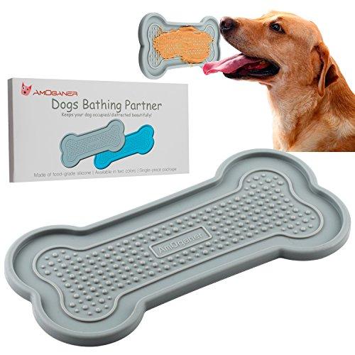 AmOganer Dog Bath Washing Buddy Tub, Food Grade Silicone Bathing Peanut Butter Partner Pad Gadget for Pet Puppy Dogs - Gray