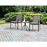 Mainstays 3-Piece Outdoor Bistro Set, Seats 2, Brown with Charcoal Grill