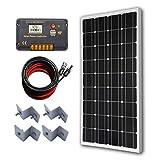 ECO-WORTHY 12 Volt 100 Watt Monocrystalline Solar Panel Kit with 20A LCD Charge