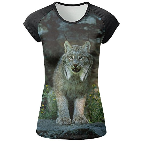AOBOER Women Canada Lynx Fashion Short Sleeves Tees Quick Dry Tshirt by AOBOER