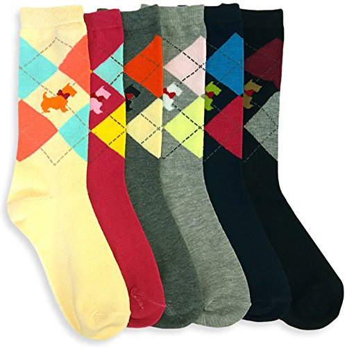 ToBeInStyle Women's Pack of 6 Crew Socks - Scottish Terrier - Size - Terrier Womens Sock
