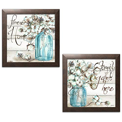 Framed Print Brown - Beautiful Watercolor-Style Family Gathers Here and Forever Home Mason Jar Floral Set by TRE Sorelle Studios; Two 12x12in Brown Framed Prints
