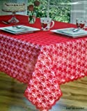 Red Lace Valentine Heart Dance Tablecloth, 52-by-70 Inch Oblong Rectangular by Homewear