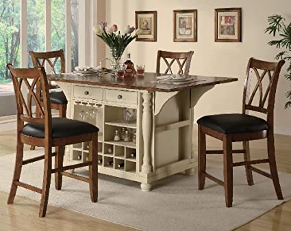 Coaster 5 Piece Kitchen Island Set In Buttermilk U0026 Cherry