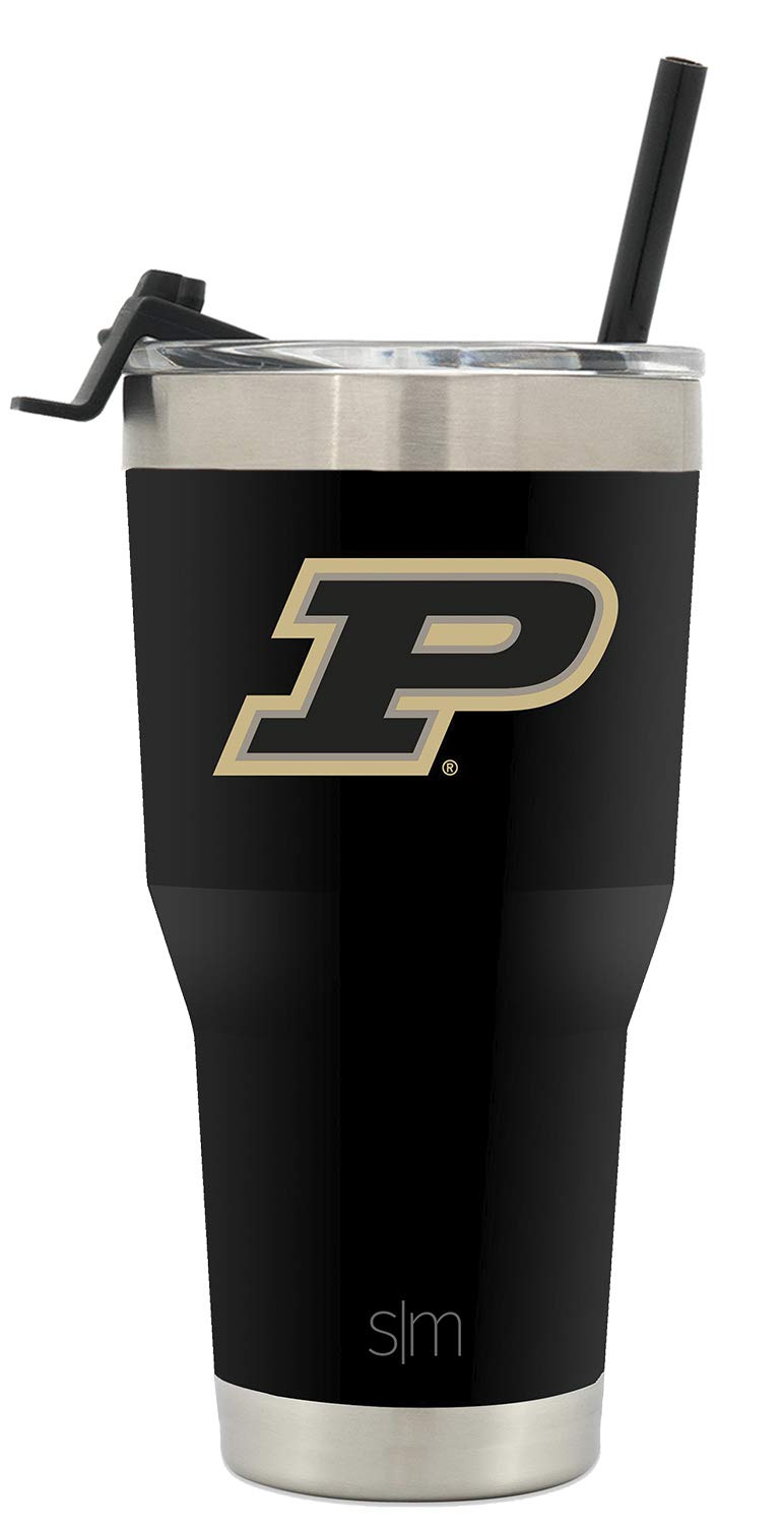 Simple Modern College 30oz Cruiser Tumbler with Straw & Closing Lid - Purdue Boilermakers - 18/8 Stainless Steel Vacuum Insulated NCAA University Cup Mug by Simple Modern