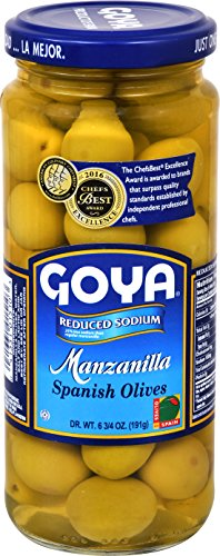 Goya Foods Manzanilla Spanish Olives Reduced Sodium, 6.75 Ounce (Pack of 24)