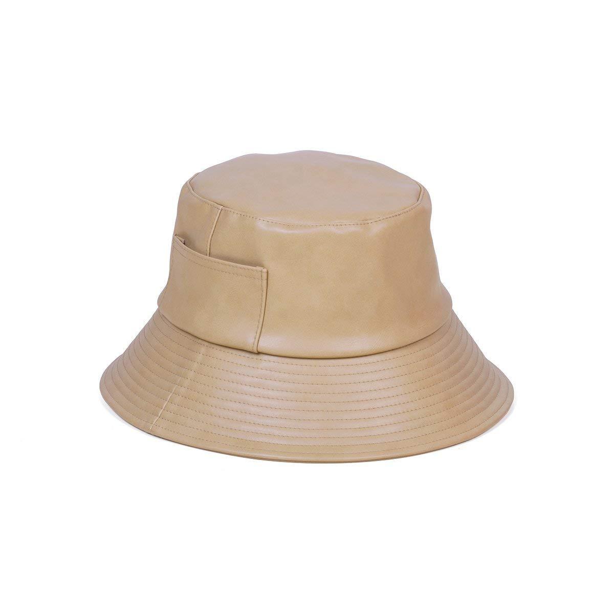 Lack of Color Women's Wave Faux-Leather Bucket Hat (Camel, Medium/Large)