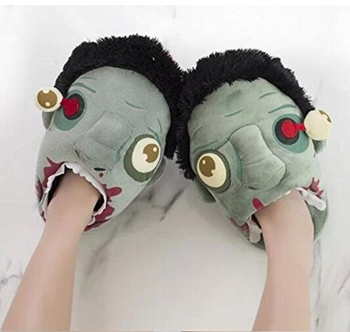 [Soondar® Plants Vs Zombies Punk Style Vault Zombies Afoot Plush Slippers for Halloween Parties] (Best Halloween Zombie Costumes)