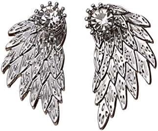 MengPa Women's Gothic Angel Wings Front Back Stud Earrings
