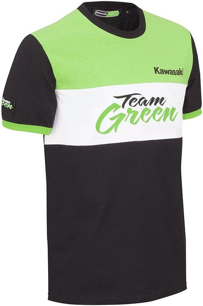 Kawasaki Team Green Camiseta de manga corta. Negro Verde Blanco de bikerworld schwarz grün weiß Large: Amazon.es: Ropa y accesorios