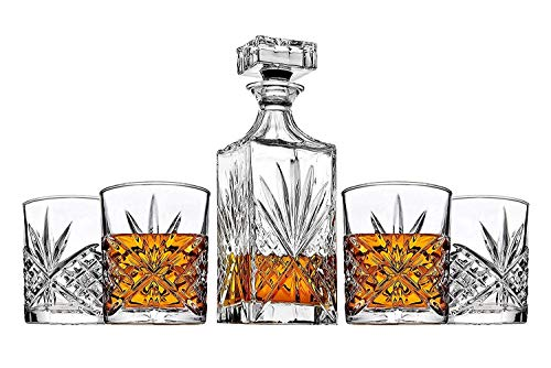 James Scott 5 PC crystal Bar Set, for Whiskey, Wine, and Liquor. This Irish Cut whiskey Set, includes a Decanter 750ml with Glass Stopper, and 4 x 11 oz. DOF Glasses-Packaged in a Beautiful Gift Box ()