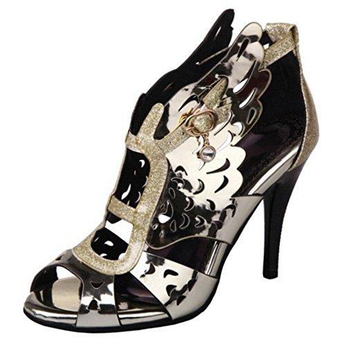Peep Gold Talon Chaussures Sandales Creux Femmes TAOFFEN Toe Aiguille à Slingback EwqRUnvx