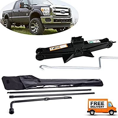 Truck Spare Tire Tool Kit Iron Replacement for Ford F-250 F-350 F-450 F-550 Super Duty (2003-2007) & Scissor Car Jack 2 Ton/105-385mm Capacity