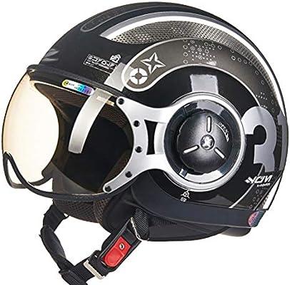 Amazon.es: Hombres Jet Retro 3/4 Medio Casco UV Protección Mujeres Electric Moto Seguridad Caps Malla Algodón Forro Harley Casco Clásico Cara Abierta Cascos de Moto