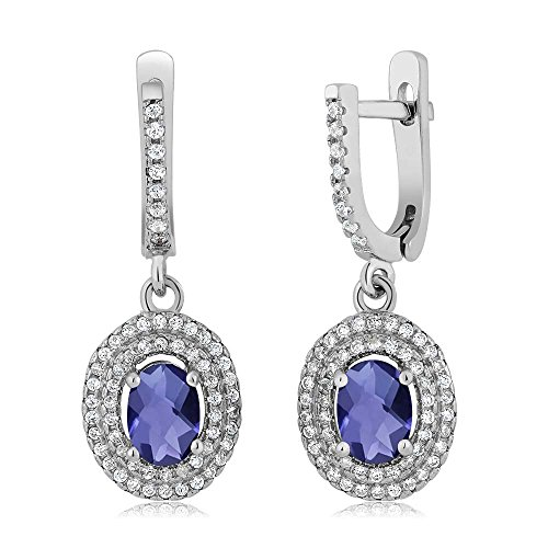 2.12 Ct Oval Checkerboard Blue Iolite 925 Sterling Silver Earrings