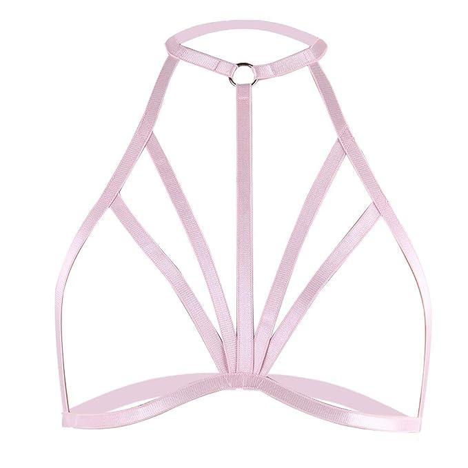 b53aacc59231b BBOHSS Womens Pink Harness Bra Strappy Bondage Body Harness Lingerie ...