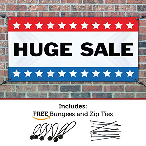 HALF PRICE BANNERS | Huge Sale Vinyl Banner | Mesh Wind Resistant | 3'x5' Stars | Free Ball Bungees & Zip Ties | Easy Hang Promotional Advertising Sign | Business Retail | Various Sizes | Made in USA