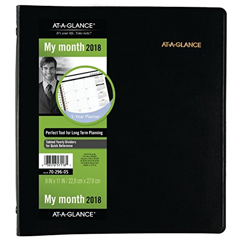 """AT-A-GLANCE Monthly Planner, 60 Months, January 2018 - December 2022, 9"""" x 11"""", Black (7029605)"""