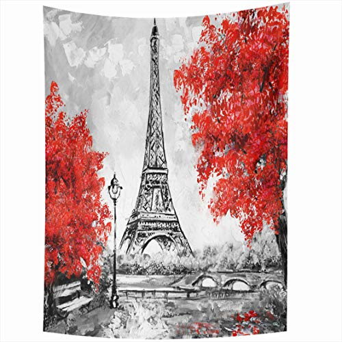 AlliuCoo Wall Tapestries 50 x 60 Inches Paris European City Landscape France Eiffel Tower Black White Red Modern Trees Home Decor Wall Hanging Tapestry Living Room Dorm