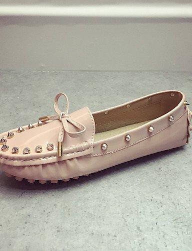 ZQ Zapatos de mujer - Tacón Plano - Punta Cerrada - Mocasines - Casual - Semicuero - Negro / Rosa / Rojo , pink-us8 / eu39 / uk6 / cn39 , pink-us8 / eu39 / uk6 / cn39 red-us5.5 / eu36 / uk3.5 / cn35
