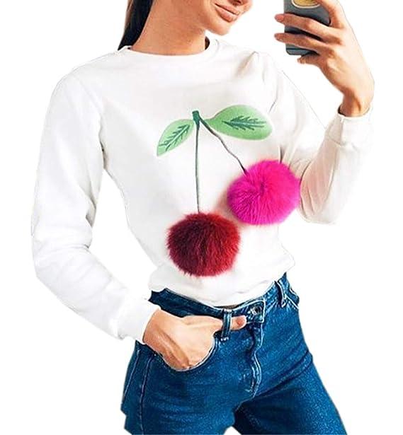Primavera y Otoño Mujeres Sudaderas Cuello Redondo Tops de Manga Larga Jerséis Sweatshirt Moda Impresión Pulóver con Bola de Pelo Blusa Suéter Jumpers ...