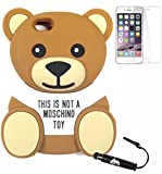 Bukit Cell Bundle: Moschino Toy 3D Teddy Bear Soft Silicone Case for 4.7 Inch Iphone 6s / Iphone 6[ NOT for Iphone 6 plus ] , Screen Protector + Metallic Stylus Touch Pen