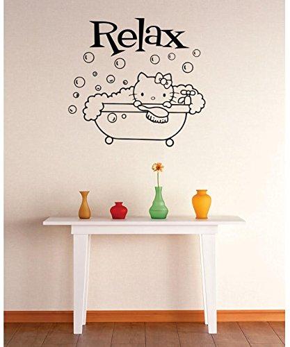 Vinyl Wall Decal Sticker Relax Hello Kitty Bubble Bath Bathroom