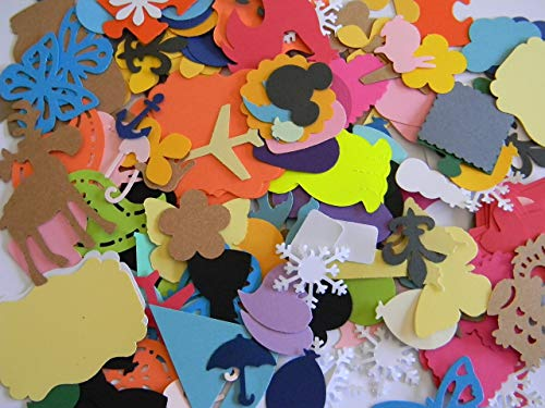 500 piece grab bag lot of shapes die cuts - confetti party school decor card making collage scrapbooking.