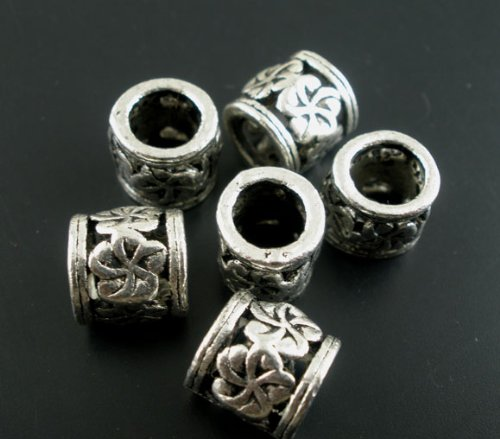 20pc Antiqued Silver Flower Spacer Beads Large Hole Fit European (Large Flower Spacer)
