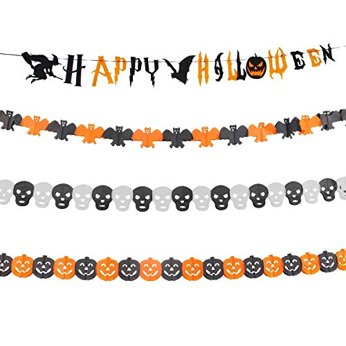 Halloween Decoration Set, Muscccm Paper Garlands Pumpkin Banner Halloween Banner for Home Indoor/Outdoor Halloween Decorations with Halloween Paper Garlands Pumpkin Spider Bat Shape]()
