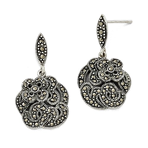 Sterling Silver Marcasite w/Flower Dangle Post Earrings (1.2IN Long x 0.7IN Wide) (Silver Marcasite Flower Earrings)