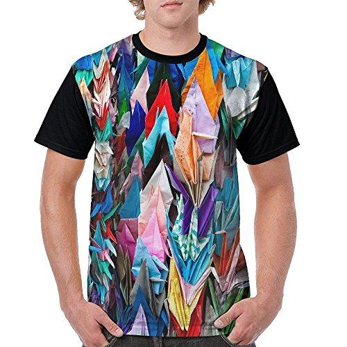 Men's Unique T Shirts Origami Multicolor Papercraft Cranes Short Sleeve T-Shirt