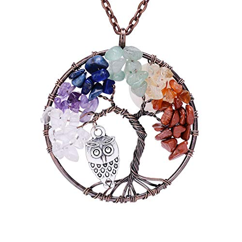 Tumbled Rainbow Stone Healing Root Chakra Wire Wrapped Vintage Cute Owl Moon Silver Necklace Women Family Tree of Life Charm Raw Stone Reki 7 Chakra Gemstone Wisdom Necklace Jewelry with Birth Stone