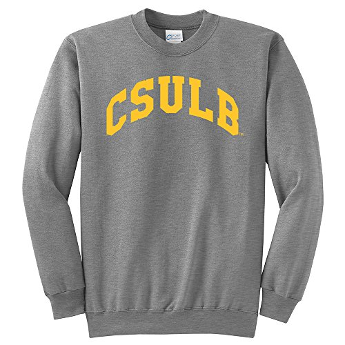 NCAA Long Beach State 49ers Arch Classic Crewneck Sweatshirt, Medium, Light Heather Grey (Beach Sweatshirt)