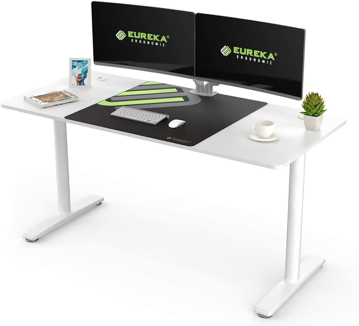 EUREKA ERGONOMIC I-Shape Computer Desk 60 Inch Multi-Functional Home Office Study Writing PC Gaming Desk Laptop Table Computer Workstation with Free Large Mousepad, White