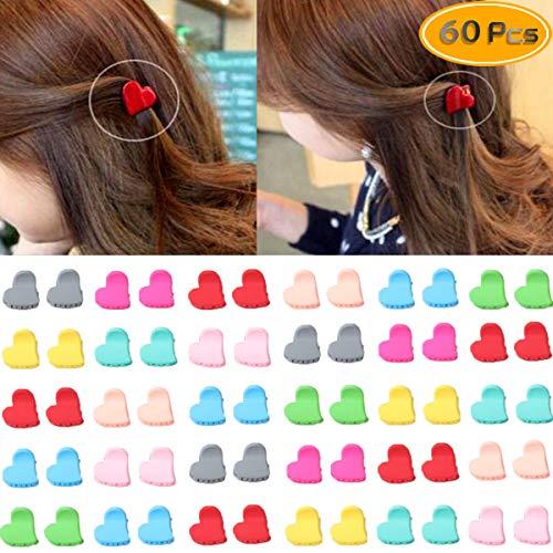 Twdrer 60PCS Colorful Mini Hair Clips, Bangs Mini Claw Hair Pin, Mini Claw Hair Clips Mini Bulk Small Hair Clips Assorted Color Mini Hair Claws For Teen.(Heart, Color Random) ()