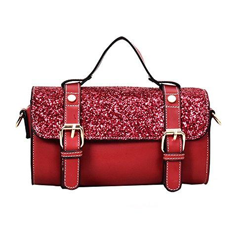 Red Dames Couleur Portable Meaeo Sac Sacs Main De À Carré Paillettes Petit Nouveaux Mode Polyvalent Noir RxUp8wZ