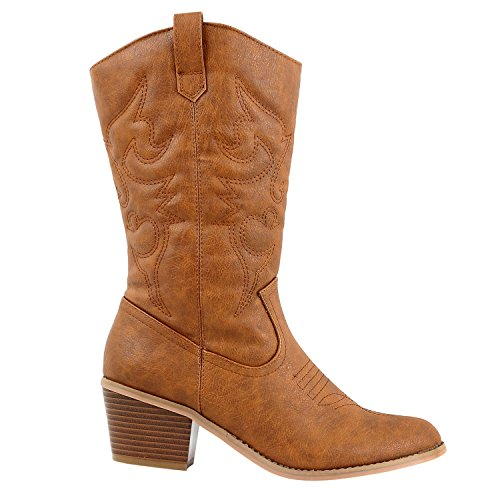 Western Style Boots (West Blvd Miami Cowboy Western Boots, Tan Pu, 9)