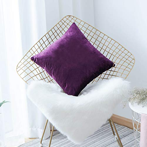 HOME BRILLIANT Solid Velvet Square Cushion Covers Case Decorative Throw Pillow Cover for Bed Sofa Car Dorm, 18x18 (45x45 cm), Eggplant -