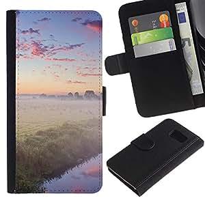 Planetar® Modelo colorido cuero carpeta tirón caso cubierta piel Holster Funda protección Para Samsung Galaxy S6 / SM-G920 ( Nature Foggy Forrest )