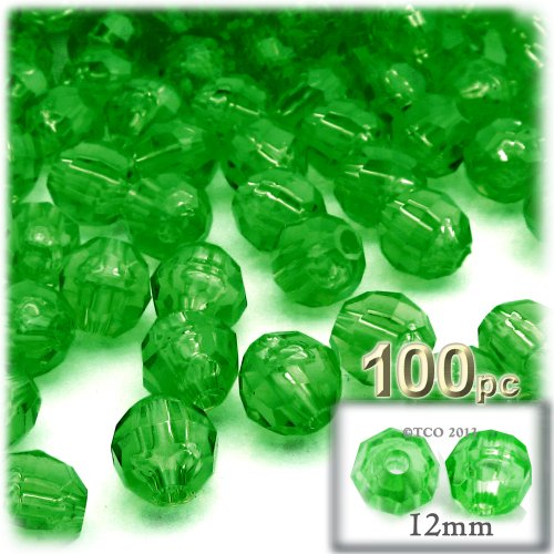 Bead Green Round 12mm - The Crafts Outlet 100-Piece Faceted Plastic Transparent Round Beads, 12mm, Emerald Green