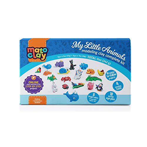 MatoClay Polymer Clay Kit for Kids with Step-by-Step Tutorials - Oven Bake Modeling Clay Charms Set | 18 Clear Photo & Video Tutorials, 8 Blocks, 3 Tools, 18 Screw Eye Pins, 1 Instruction Booklet ()