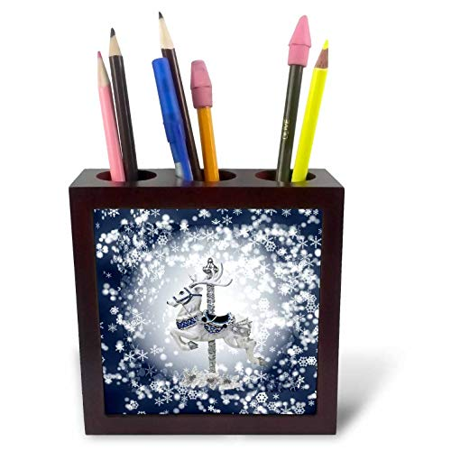 3dRose Beverly Turner Christmas Design - Carousel Reindeer White Poinsettia Accents, Snowflakes, Blue and White - 5 inch Tile Pen Holder (ph_299619_1)