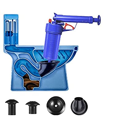 Multi-Function High Pressure Drainage Dredge Cleaning Tool,High Pressure Powerful Manual Sink Plunger Opener Cleaner Pump for Bath Toilets, Bathroom, Shower, Kitchen Clogged Pipe Bathtub(Blue)