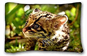 Generic Personalized Animal Custom Cotton & Polyester Soft Rectangle Pillow Case Cover 20x30 inches (One Side) suitable for Queen-bed